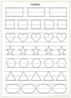 Shape Worksheets For Preschool, Handwriting Worksheets For Kids, Nursery Worksheets, Preschool Writing, Kindergarten Math Worksheets, Alphabet Worksheets, Preschool Lessons, Toddler Learning Activities, Preschool Activities