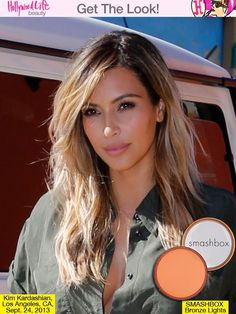 Kim Kardashian's Gorgeous Blonde Hair & Tan Skin — How To Just because it's fall doesn't mean you have to ditch your summer glow! Kim Kardashian loves to be tan all year round and we know how you can get her sun-kissed look below! Hair Color For Tan Skin, Blonde Hair Brown Skin, Blonde Streaks, Hair Colour, Kim Kardashian Hair, Mi Long, Hair Highlights, Pretty Hairstyles, Hair Looks