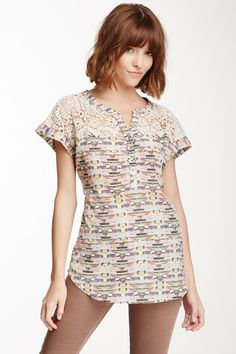 Daniel Rainn Short Sleeve Crochet Yoke Blouse by Daniel Rainn on @HauteLook