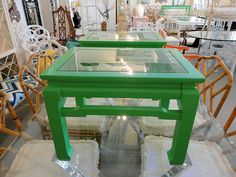 Pair of Ming Style Cocktail Tables - Pair of MING Style Cocktail Tables with inset glass tops in nice as found VINTAGE condition. There are minor imperfections to the NEWLY lacquered M&M green finish.