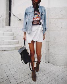 Wrap mini + denim jacket.