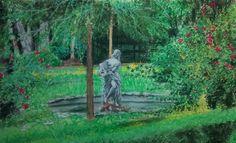 Jardins com estátua Aquariana - Pastel seco em Canson branco granulado por J. Carlos
