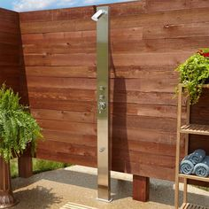 Sevona Freestanding Brushed Stainless Steel Shower Panel with Mounting Base - Outdoor Showers - Outdoor