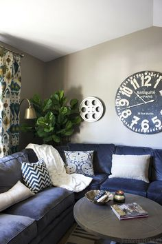 Cozy Fall Family Room Sectional - The Inspired Room - Simple Fall Decorating Ideas. This is what convinced me to get the dark blue upholstery for the living room! New Living Room, Home And Living, Living Room Decor, Living Room Ideas Navy Blue Sofa, Modern Living, Living Area, Family Room Sectional, Navy Sectional, Navy Couch