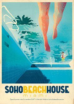 Jonas Bergstrand crafts beautiful 'vintage' posters for Soho Beach House - News - Digital Arts