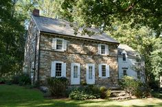 Historic Home Charming 1812 Stone & Stucco Farmhouse on six acres surrounded by woods for privacy on a sweeping l Stone House Revival, Historic Homes For Sale, Cabin House Plans, English Country Decor, Stucco Homes, Dream House Exterior, House Exteriors, Barbie Dream House, Stone Houses