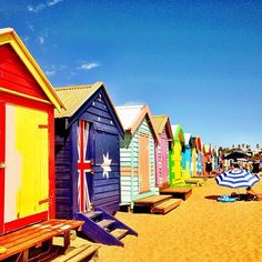 The bright and colurful Brighton Beach has 82 colurful bathing boxes and is fantastic for leisure and exercise. Located on the coastline of Melbourne. Brighton Beach Melbourne, Melbourne Victoria, Victoria Australia, Oh The Places You'll Go, Great Places, Places To Travel, Beautiful World, Beautiful Places, Round The World Trip