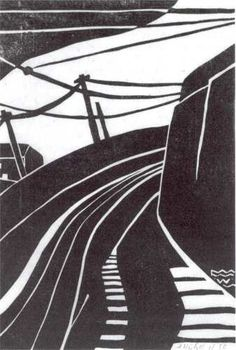 Tram Lines - linocut, circa 1928 - Frank (Friedrich) Weitzel sculptor/printmaker (1905-1932, New Zealand)