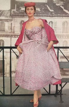 """""""From Dior's world of gauzy flower prints, this rose printed chiffon is melting into it's own rose pink silk coat, lined with the coat. 1953"""
