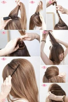 In the Thick of It: 3 Fancy Hairstyles for Thick Hair - Bouffant hair tutorial My Hairstyle, Fancy Hairstyles, Popular Hairstyles, Simple Hairstyles, Hairstyle Ideas, Hairstyles Haircuts, Bouffant Hairstyles, Wedding Hairstyles, 70s Disco Hairstyles