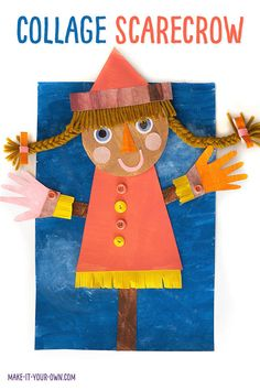 This Fall art project is a great way to explore creating different types of texture with paint, recycled magazines and crafting materials you may already have at home! Make a scarecrow to hang up in your classroom or frame at home with these tips to get your started on this Autumn art piece! #scarecrow #scarecrowart #fallart #autumnart #kidscraft #craftsforkids #fallcraft #autumncraft #recycledart #recycledcraft Creative Activities For Kids, Creative Arts And Crafts, Autumn Activities, Easy Crafts For Kids, Art For Kids, Kid Crafts, Creative Kids, Fall Art Projects, Arts And Crafts Projects