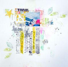 #papercraft #scrapbook #layout. Designed by Magda Bolinska using stamps from Birgit Koopsen for Carabelle Studio