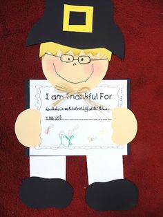 First Grade Wow: Pilgrim Kids and First Graders- Thankful!--free patterns to download