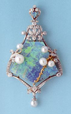Art Nouveau Tiffany Opal Diamond Pearl Pendant #tiffany tiffany jewelry replica wholesale