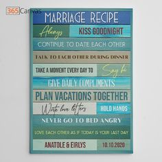 """This """"Marriage Recipe"""" custom canvas print makes an incredibly unique marriage gift for your friend or your partner. A perfect gift for wedding and anniversary, the canvas will look great on your hallway walls or in your bedroom. As the name suggests, """"Marriage Recipe"""" custom canvas print has interesting marriage tips written on it. It tells a couple what they should do to keep their marriage stronger. #anniversary #wedding #gifts #giftideas #canvas #marriage #365canvas"""