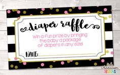 Black Stripes and Pink Polka Dots Printable Diaper Raffle Ticket – Erin Bradley/Ink Obsession Designs