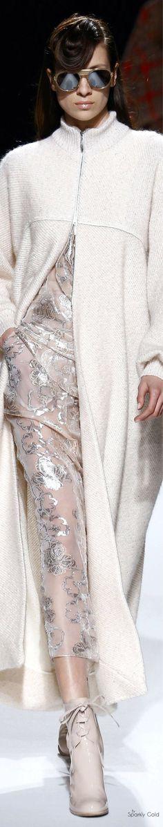 Talbot Runhof F-16 RTW: knitted coat, sparkly sheer dress.