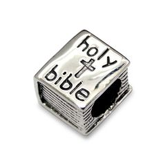 ".925 Sterling Silver ""Holy Bible"" Charm Spacer Bead for Snake Chain Charm Bracelet"