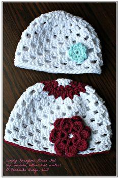 Simply Springtime Flower Hat Newborn, 3-6 month, 6-12 month, 12-24 months, 3-5 years, 6-10 years, Adult (small & medium) @OombawkaDesign