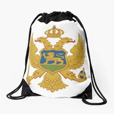 'Coat of arms of Montenegro' Drawstring Bag by ArgosDesigns Montenegro Flag, Coat Of Arms, Woven Fabric, Drawstring Backpack, Backpacks, Bags, Handbags, Family Crest