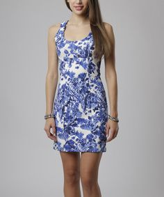 Take a look at the Blue Dali Flower Pearl Sleeveless Sheath Dress on #zulily today!