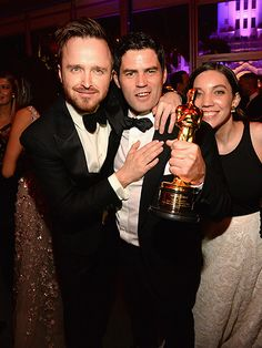 And the Award for Best Oscars Afterpartiers Goes to ...   AARON PAUL & SHAN CHRISTOPHER OGILVIE    at the Vanity Fair party.