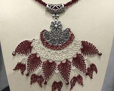 Handmade bohemian jewelry,Ethnic needle lace oya necklace,Turkish jewelry,Traditional necklace,Needle lace pendant necklace,Vintage necklace