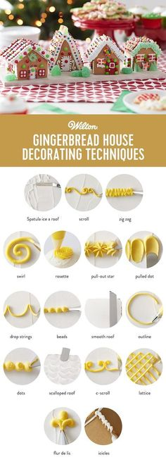 Gingerbread House Decorating Techniques - how to pipe scroll, zig zag, swirl, etc Gingerbread House Designs, Gingerbread House Parties, Christmas Gingerbread House, Christmas Treats, Gingerbread Cookies, Christmas Desserts, Gingerbread Houses, Gingerbread House Decorating Ideas, Gingerbread Decorations