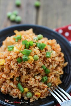 Kimchi Fried Rice with corn and green beans.