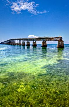 The Bahia Honda Rail Bridge. Built by Henry Flagler as part of the Overseas Railroad which was completed in 1912. The State of Florida purch...