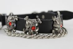 """$23 Biker Western Fashion Pair Boot Straps Chain  You are buying 2 straps - a pair of Big Skull  Condition: Brand new  Color: Black with silver and red  Size: One size 12""""-16""""  Check out my other items!  Be sure to add me to your favorites list!  S..."""