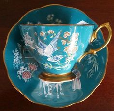 Gorgeous Royal Albert Turquoise/Teal Green Oriental Pattern Tea Cup and Saucer