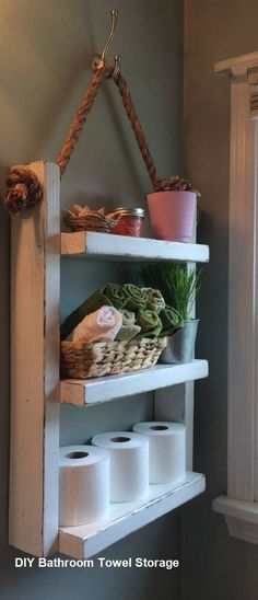 40 Creative Ideas White Rustic Bathroom Shelves 61 Rope Hanging Shelf Wooden Ladder Shelf Storage Shelf Bathroom Storage Rustic Shelf Over the 3 Rustic Shelves, Toilet Storage, Shelves, Pallet Bathroom, Bathroom Towels, Storage Shelves, Towel Rack Bathroom, Wooden Ladder Shelf, Bathroom Towel Storage