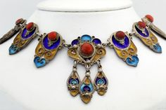 Antique C. 1920 Art Deco Sterling Silver Enamel Salmon Coral Chinese Necklace! #Choker