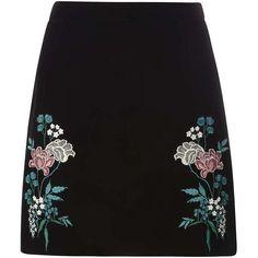 Dorothy Perkins Black Embroidered Velvet Skirt (1.130 UYU) ❤ liked on Polyvore featuring skirts, bottoms, saias, black, floral knee length skirt, floral printed skirt, velvet skirt, embroidered skirt and dorothy perkins