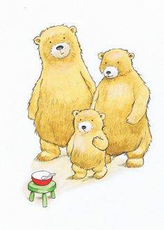 Peter Wilks Illustration - peter, wilks, peter wilks, paint, painted, watercolour, water colour, traditional, commercial, educational, picture book, picturebook, fiction, acrylic, colour, colourful, YA, young reader, bears, bear, cub, family, animals, three bears, goldilocks, fairy tale