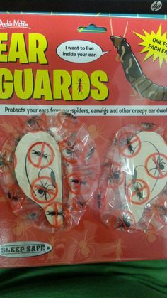 Sleep Safe with Ear Guards - New in Package - Keeps out ear spiders, earwigs ... Clicking on the View Page tab will take you to our eBay listing for this item.  When you click on the following link, it wiil take you to our Way Up In Alaska Novelties & Fun stuff page:  http://www.wayupinalaska.com/Novelties---Fun-Stuff.html