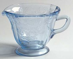 Federal Glass  Madrid Blue Footed Creamer   Madonna Blue,Depression Glass