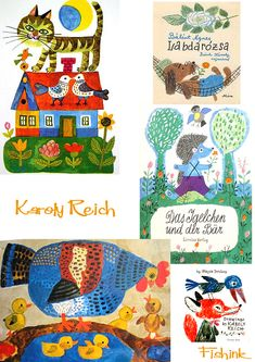 Karoly Reich, August 1922 – 7 September the Hungarian born children's book illustrator was a great innovator. The main features of his work were light, clean lines, a uniquely indiv… Vintage Book Art, Scandinavian Folk Art, Manga Covers, Sketchbook Inspiration, Naive Art, Children's Book Illustration, Illustrations And Posters, Childrens Books, Illustrators