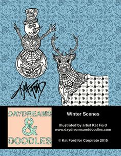 Four winter scene coloring sheets from Daydreams And Doodles by artist Kat Ford.  Adult coloring books available at www.daydreamsanddoodles.com.Winter Scenes by Kat Ford for Corpirate is licensed under a Creative Commons Attribution 4.0 International License.Based on a work at www.daydreamsanddoodles.com.Permissions beyond the scope of this license may be available at www.daydreamsanddoodles.com.