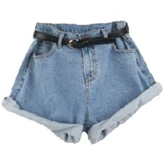 Choies Light Blue Oversized Roll Up High Waist Shorts ($17) ❤ liked on Polyvore featuring shorts, bottoms, pants, short, multi, high rise shorts, high-waisted shorts, oversized shorts, rolled shorts and roll up shorts
