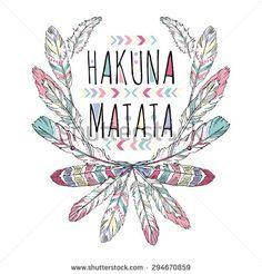 native american poster, t-shirt design, hakuna matata, lettering