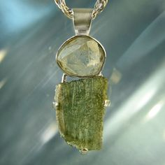 Raw Herkimer Diamond & Moldavite Artisan by ArkadiaCollection