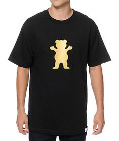 A gold bear logo graphic screen printed at the chest with a white Grizzly Griptape logo upper back graphic provides rad double sided style.