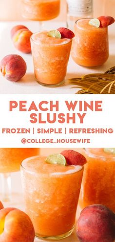 A fresh and frothy Peach Wine Slushy featuring a mix of frozen peaches, strawberries and a bottle of your fav rose or white wine to enjoy with friends. Refreshing Summer Cocktails, Sweet Cocktails, Frozen Cocktails, Summer Drinks, Fun Drinks, Cocktail Recipes, Alcoholic Drinks, Beverages, Peach Wine