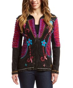 This Black & Pink Embroidered Patchwork Zip-Up Hoodie by Rising International is perfect! #zulilyfinds