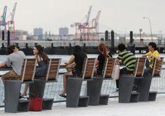 Public bench / contemporary / concrete - EAST RIVER WATERFRONT - Lafarge  - Videos