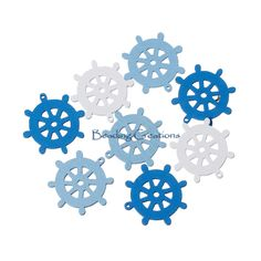 CHARMS   WOODEN  RUDDER/SHIP WHEEL  RANDOMLY MIXED  CHARM SIZE:25x25mm  HOLE SIZE: 1mm  THICKNESS: 1.8mm