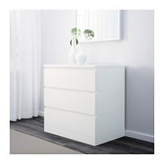 "IKEA - MALM, 3-drawer chest, white, 31 5/8x30 3/4 "", , Of course your home should be a safe place for the entire family. That's why a safety fitting is included so that you can attach the chest of drawers to the wall.Smooth running drawers with pull-out stop.If you want to organize inside you can complement with SKUBB box, set of 6."