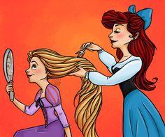 Ariel and Rapunzel by clarkey-lou.deviantart.com on @deviantART